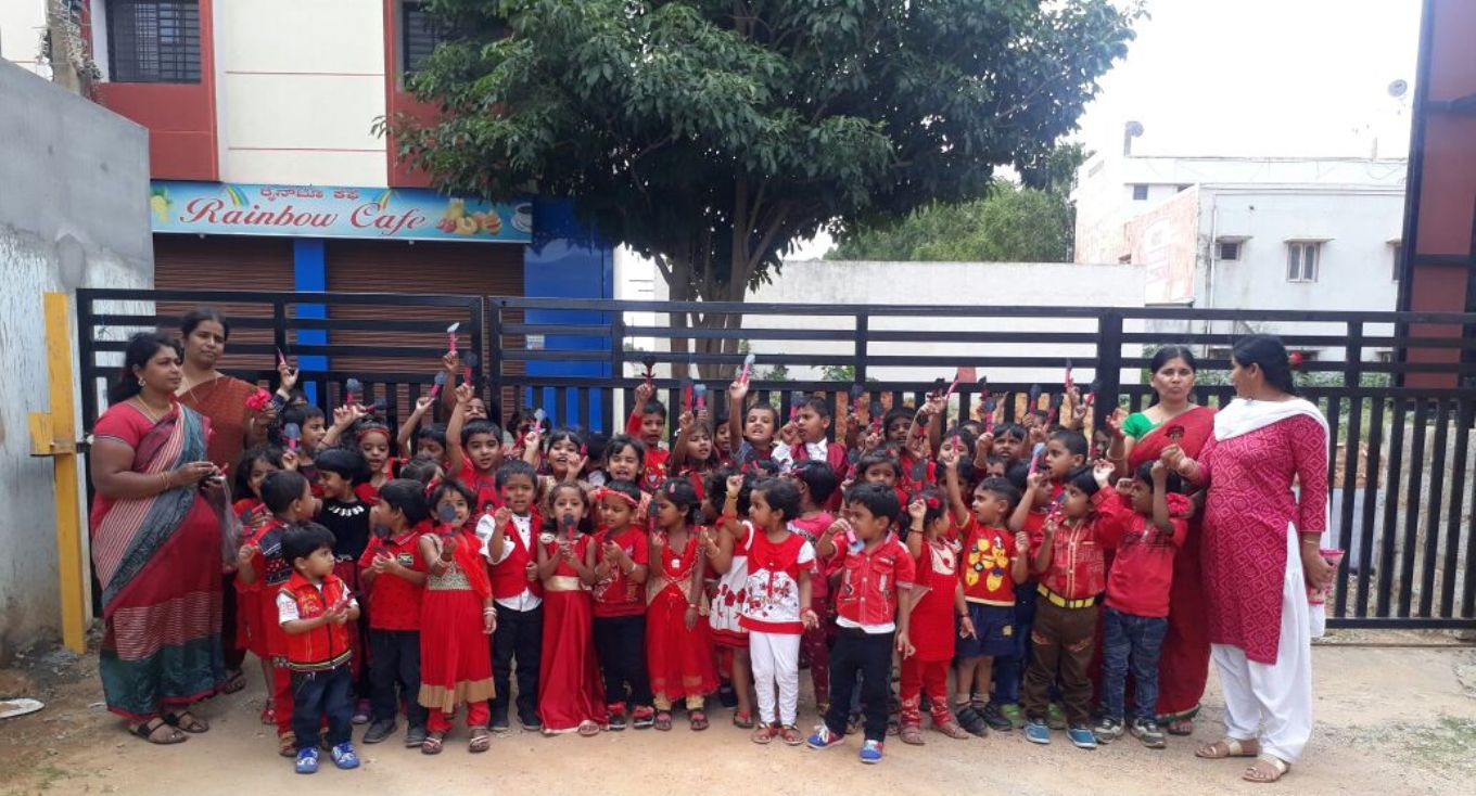 Red Day has been organized for KG Section Children. Games were held for the KG Children, Children came in Red Dress having finger puppets which they loved playing with.