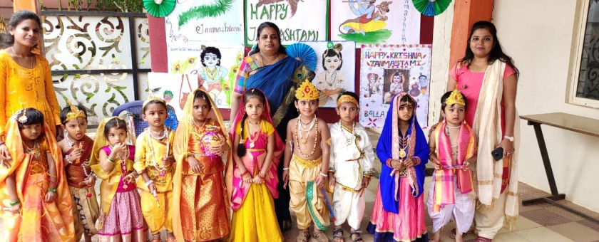 Krishna Janmasthami was celebrated at School Campus. Tiny Tods dressed themselves as Lord Krishna and Radha.